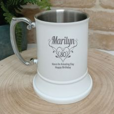 80th Birthday Engraved Stainless Steel White Beer Stein (F)