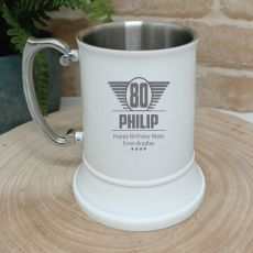 80th Birthday Engraved Stainless Steel White Beer Stein (M)