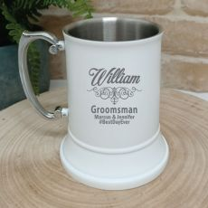 Groomsman Engraved White Stainless Beer Stein Glass