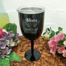 Mum Black Stainless Engraved Wine Glass