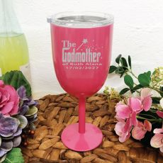 Godmother Pink Stainless Engraved Wine Glass