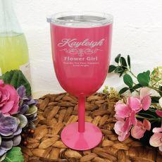 Flower Girl Pink Wine Stainless Goblet