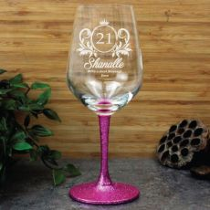 21st Birthday Engraved Personalised Wine Glass 450ml (F)
