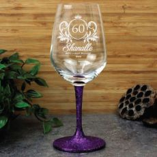 60th Birthday Engraved Personalised Wine Glass 450ml (F)