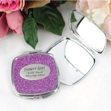 Flower Girl Personalised Compact Mirror 6 Glitter Colours