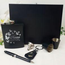 Nana Engraved Black Flask Gift Set in  Gift Box