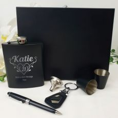 21st Birthday Engraved Black Flask set in Gift Box (F)