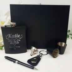 21st Birthday Engraved Black Flask set in Gift Box (F)