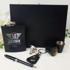 50th Birthday Engraved Black Flask Set in Wood Box