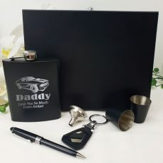 Dad Engraved Black Flask Set in  Gift Box
