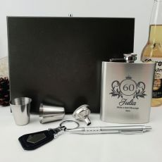 60th Birthday Engraved Silver Flask Set in Wood Box  (F)