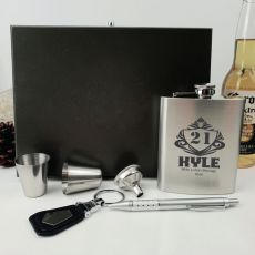 21st Birthday Engraved Silver Flask set in Gift Box (M)