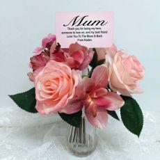 Mum Rose Cymbidium Bouquet with Personalised Picket