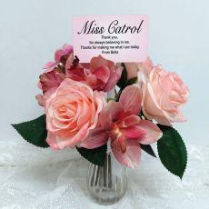 Teacher Rose Cymbidium Bouquet Personalised Picket