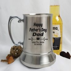 Fathers Day Engraved Personalised Stainless Beer Stein Glass