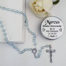 Holy Communion Blue Pearl Rosary Beads Personalised Tin