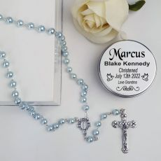 Christening Blue Pearl Rosary Beads Personalised Tin