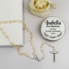 Holy Communion Pearl Heart Rosary Beads Personalised Tin