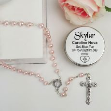 Baptism Pink Pearl Rosary Beads Personalised Tin