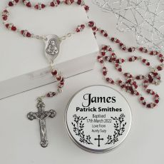 Baptism Red Diamante Rosary Beads Personalised Tin