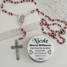 Red Diamante Rosary Beads Bridal Charm Personalised Tin