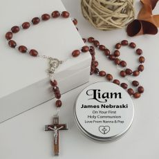 Holy Communion Wooden Rosary Beads Personalised Tin