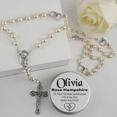Holy Communion Pearl Rosary Beads Personalised Tin