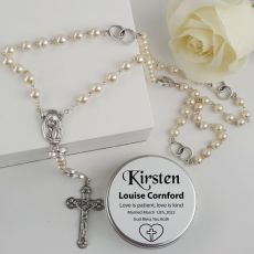Pearl Rosary Beads Bridal Charm Personalised Tin