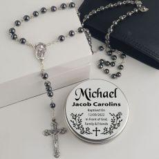 Baptism Rosary Beads Hematite Personalised Tin