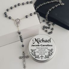 Hematite Rosary Beads Personalised Tin