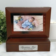 Christening Wooden Photo Keepsake Trinket Box