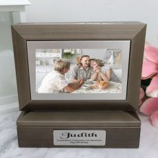 90th Photo Keepsake Trinket Box - Charcoal Grey
