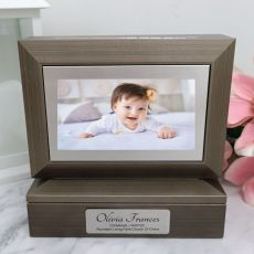 Christening Photo Keepsake Trinket Box - Charcoal Grey