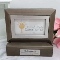 Communion Photo Keepsake Trinket Box - Charcoal Grey