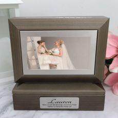 Flower Girl Photo Keepsake Trinket Box - Charcoal Grey