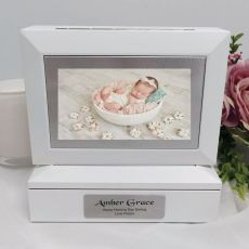 Naming Day Photo Keepsake Trinket Box - White