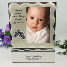 Personalised Christening Keepsake Box with Photo Lid