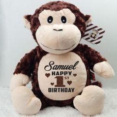 Personalised Birthday Huggles Monkey Cubbie Plush