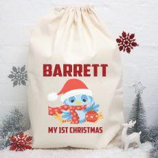 Personalised Christmas Santa Sack 80cm - Blue Bird