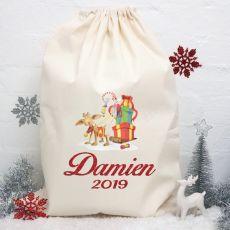Personalised Christmas Santa Sack -Vintage Reindeer