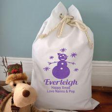 Personalised Christmas Santa Sack 70 x 50 - Glitter Snowman