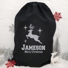 Personalised Large Black Christmas Santa Sack - Reindeer