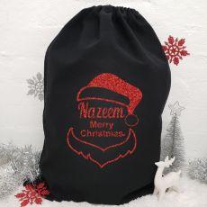 Personalised Large Black Christmas Santa Sack