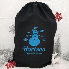 Personalised Large Black Christmas Santa Sack - Snowman