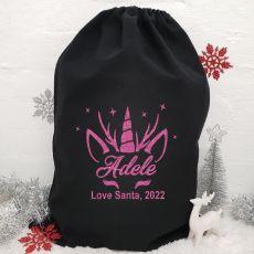 Personalised Large Black Christmas Santa Sack - Unicorn