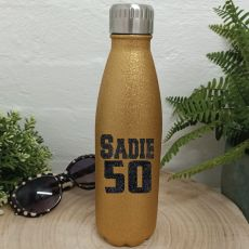 Personalised 50th Gold Glitter Drink Bottle