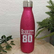 Personalised 80th Pink Glitter Drink Bottle