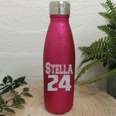 Personalised Birthday Pink Glitter Drink Bottle