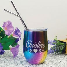 Personalised Rainbow Tumbler Stemless Wine Glass