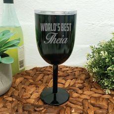 World's Best Aunty Black Stainless Wine Glass